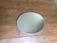 Oval Frameless Vintage Art Deco Mirror 1950's 1960's Retro with Chain