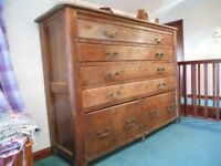VERY LARGE ANTIQUE INDUSTRIAL PINE CHEST OF DRAWERS PLAN SHIPWRIGHT HABERDASHERY.