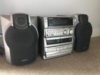 Aiwa 3 drawer CD, radio, 2 tape deck and AUX.