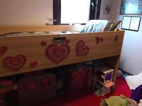 Girls mid sleeper oak cabin bed - single