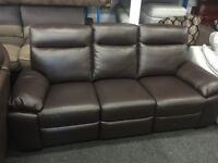 New/Ex Display LazyBoy Brown Leather Leather 3 Seater Recliner Sofa