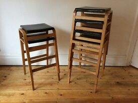6 available - Vintage School College Stacking Tall Stools Dancer Hearne Bent Ply £35 EACH