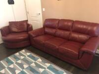 Set of 3 seater sofa and a swivel round armchair (leather) - SCS and cherry colour