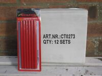 An un-opened box of Red Carpenter's Pencils (12 packs).