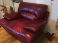 Red leather cuddle chair