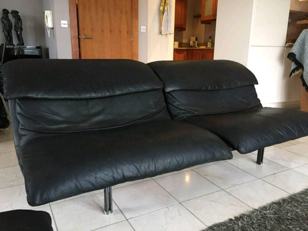 2 Seater Saporiti Italia Wave Black Leather Sofa Designed By Giovanni Offredi