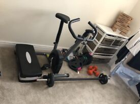 A collection of gym training equipment suitable for home use