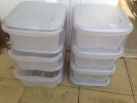Plastic 3 drawer storage pedestals