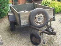 6'x4' trailer, box section steel chassis, car type suspension & brakes, 3 new tyres, lights.