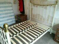 Cream and Brass metal bed frame