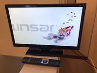 """22"""" LINSAR LED TV BUILTIN FREEVIEW HDMI PORTS USB CAN DELIVER"""