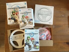 Mario Kart game for Nintendo Wii with 2 x Wii wheels