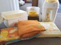 Baby Giraff baby box, nappy bin, potty, cot bumper, cot dovet & blanket bundle for sale.