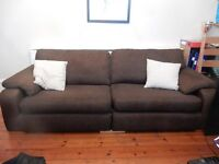 Large brown fabric sofa (long and comfortabel - acts as spare bed!)