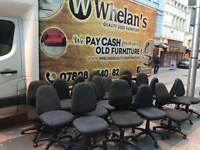 We have 60 black fabric swivel chairs,literally new condition £6 each or discount if buying in bulk