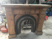 HEAVY TIMBER FIRE SURROUND WITH BACK PLATE. CAN PROVIDE A BLACK GRANITE HEARTH. CALLS ONLY PLEASE