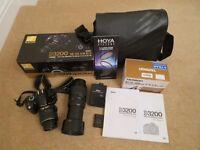 Nikon D3200 DSLR Camera with two lenses and kit
