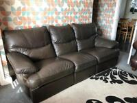 3 seat leather recliner sofa brown