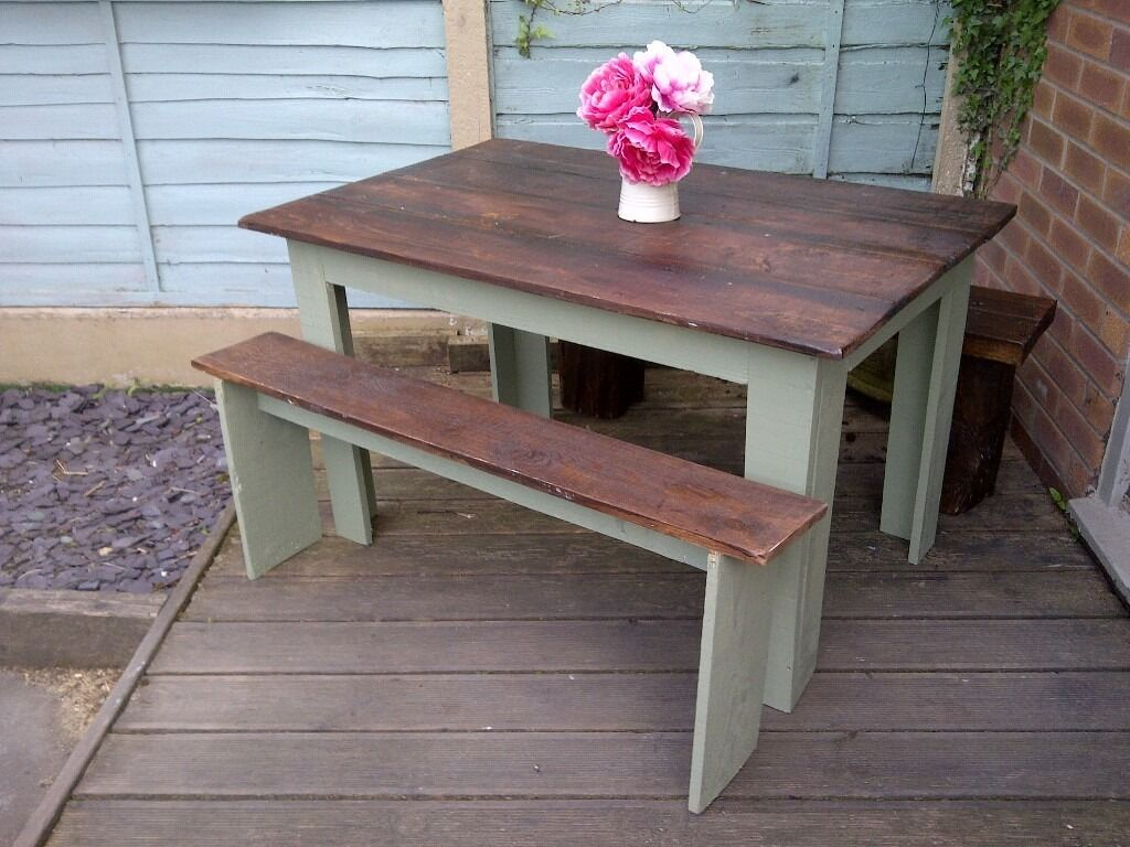 Garden Table And Bench Set Wood Painted In Outdoor Weather