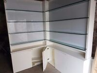 GLASS SHELVES DISPLAY CORNER UNIT