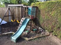 Swing and slide set wooden needs some tlc