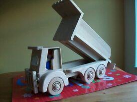 toy tip up truck in oak