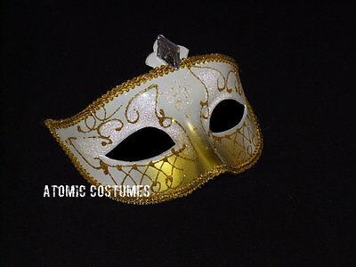Gold White Venetian Mask Mardi Gras Carnival Carnivale Costume Halloween - Carnival Masks