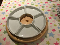 NEW TG WOODWARE REVOLVING LAZY SUSAN HORS D'OEUVRES SET HEVEA WITH 6 PORCELAIN DISHES