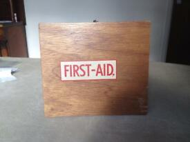 Vintage Wooden First Aid box & original contents