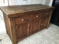 Solid reclaimed wood hand made large kitchen island