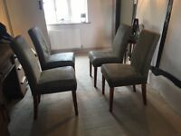 Next brushed Leather Dining chairs, set of 4, hard wearing due to brushed leather material