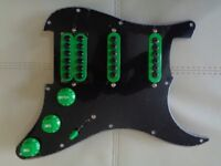 HANDMADE LOADED PICKGUARD WITH NEODYMIUM INVADER STYLE PICKUPS TREBLE BLEED AND HUMBUCKER SPLIT