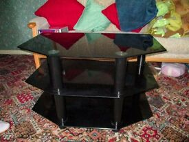 Black Glass TV Table/ Stand