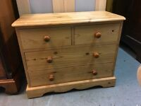 OLD PINE SOLD SMALL CHEST OF DRAWERS WITH PANELLED BACK AND DRAWERS