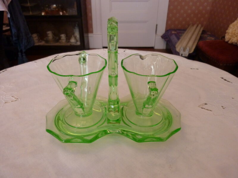 Cambridge Decagon Elegant Green Glass 3pc Sugar & Creamer w/ Handled Tray