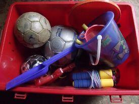 TUB OF FOOTBALLS, BUCKETS AND SPADES