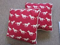2 sets of sofa cushions - Red with white horses, Yellow Gold with white cotton spots