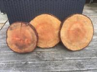 Log slices, used for wedding table decorations and cake stand.