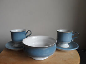 DENBY BLUE CASTILLE CUPS & SAUCERS AND CEREAL BOWL