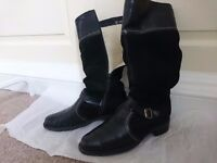 Black leather lined winter boots