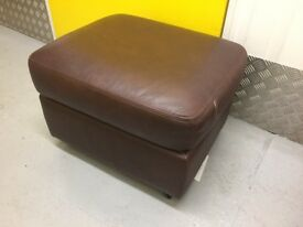 M&S Real Leather Brown Footstool *LIKE NEW*