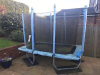 Trampoline 6x9 foot with protective netting & base pads