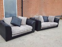 Cute black and grey cord sofa suite. 1 month old. clean and tidy. can deliver