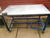 INDUSTRIAL WORK TABLE WITH STAINLESS STEEL TOP