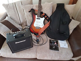 Squier STRAT by Fender guitar with carry case, Blackstar HT-1 amp and EZ-100A Tuner for sale