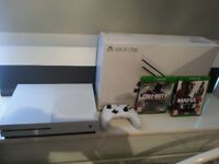 X Box One S - 500 GB - Basically brand new - 1 Controller and 2 Games. Unwanted present