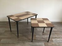 Vintage Retro Mid Century Pair of Formica Topped Side Tables