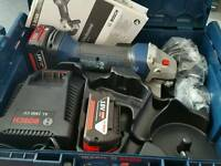 "BOSCH 18V 5"" ANGLE GRINDER INC X2 BATTS CHARGER LBOXX **BRAND NEW**"