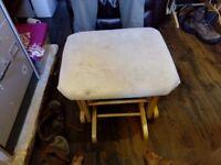 Dutalier (Canadian brand) wooden rocking chair plus rocking stool, creme cushions- £40
