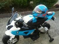 kids 12v bmw ride on motorbike & real motorbike helmet